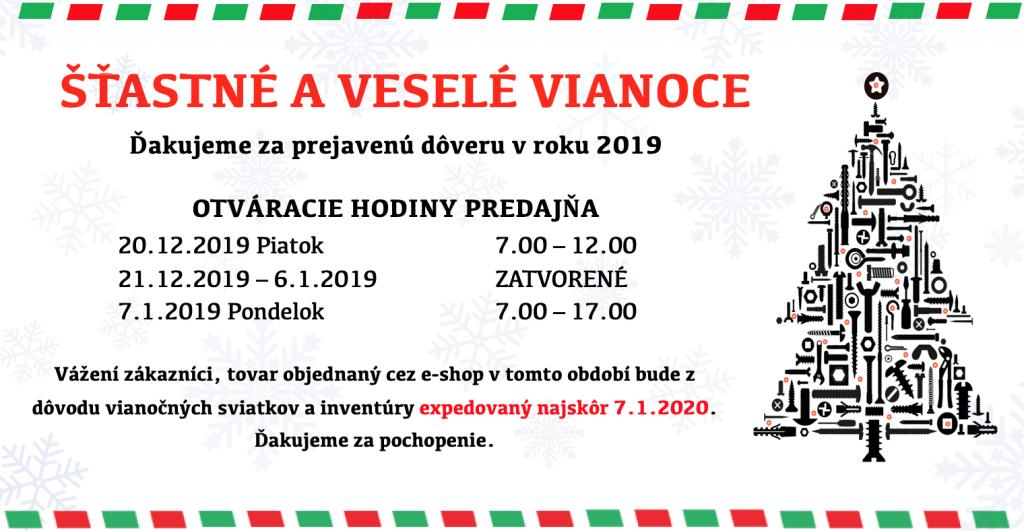 Otváracie hodiny – Vianoce 2019